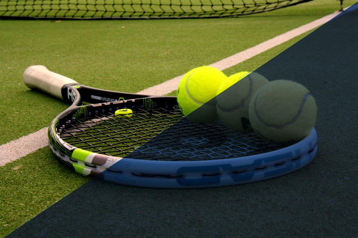 Tennis racket - half in sunlight, half in darkness